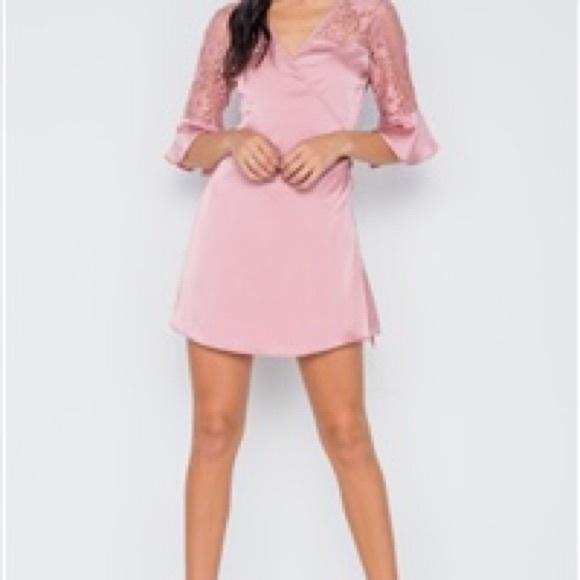 Dresses & Skirts - Dusty Pink Satin Mini Dress